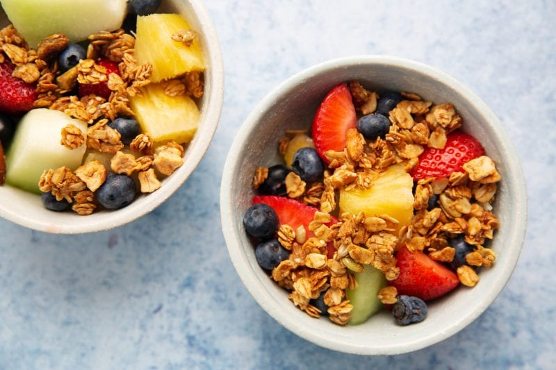 Bowls with fruit and granola