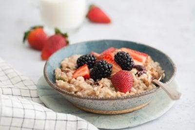 Our Oats So Google Muesli topped with berries.