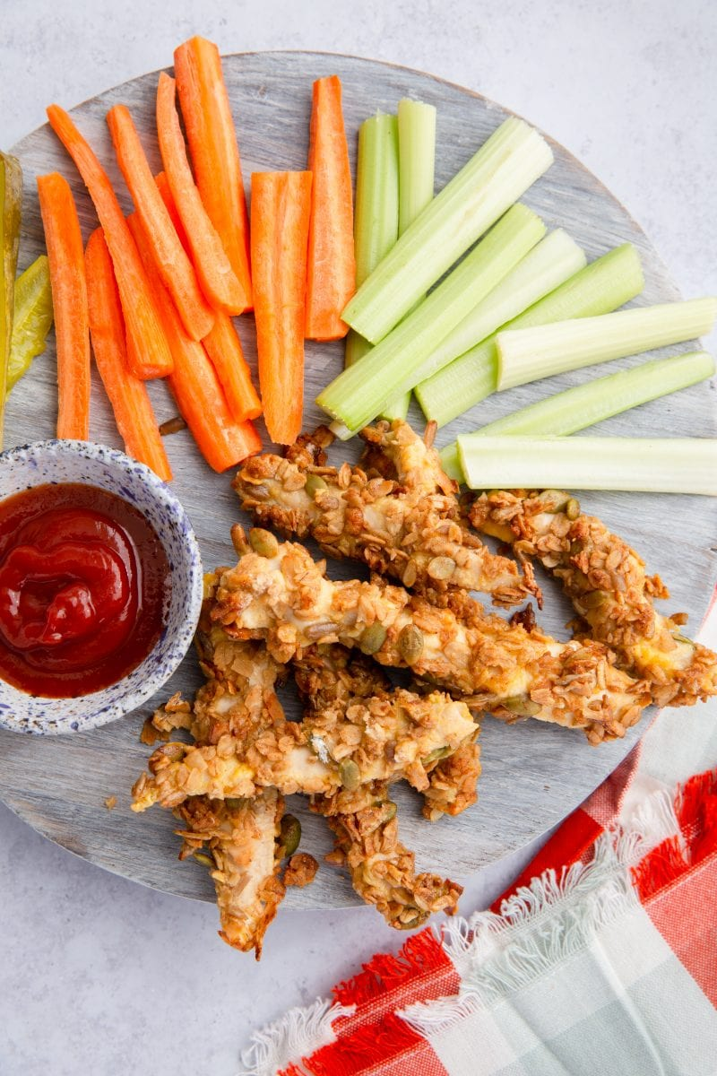 Chicken fingers topped with Nutty No Grainer