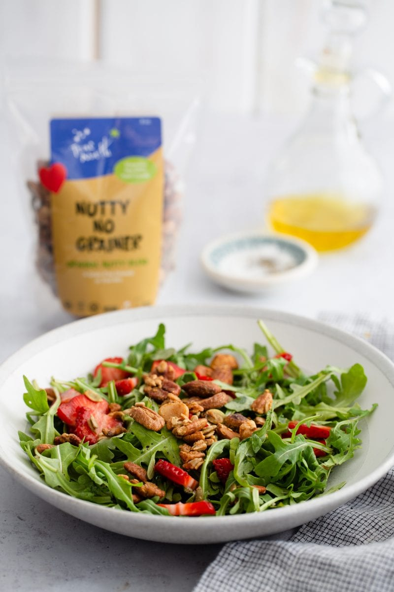 Salad topped with Nutty No Grainer
