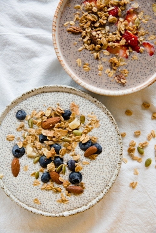 Granola dishes that are sweet, such as this Chia Pudding, are ideal in warm weather.