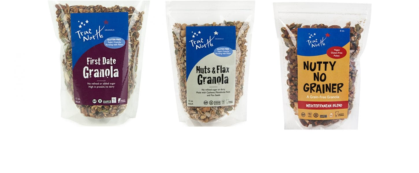 First Date Granola, Nuts & Flax Granola and Nutty No Grainer Mediterranean Blend.