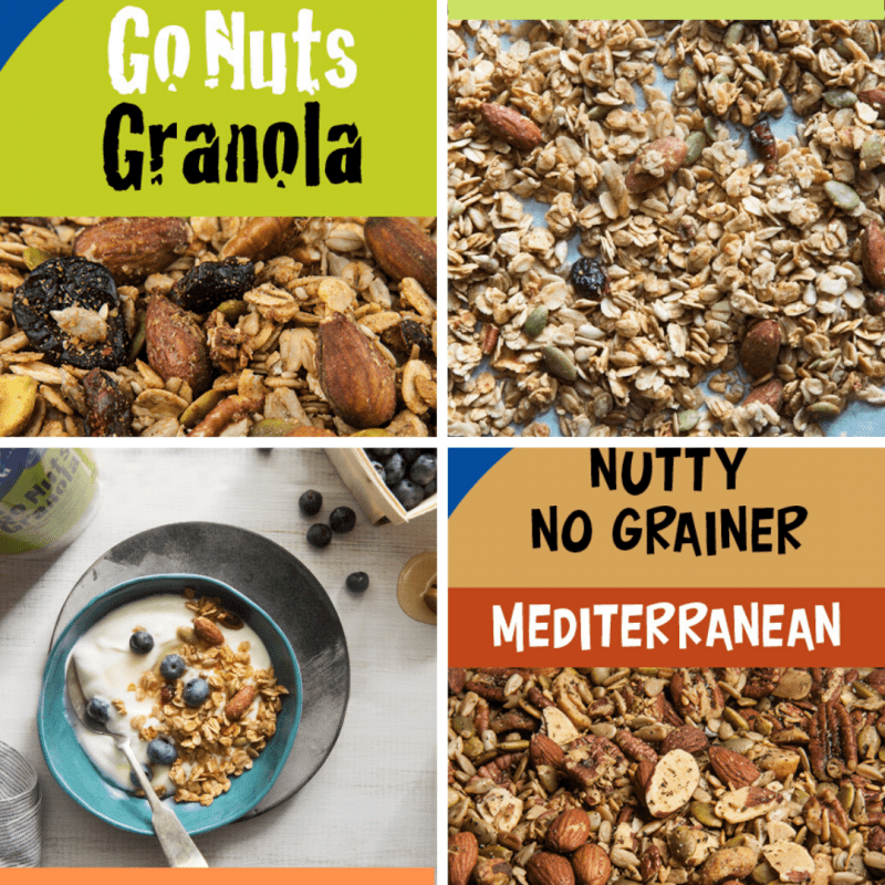 Images of Go Nuts Granola and Nutty No Grainer Mediterranean - bulk tags, granola on a counter, and granola in a bowl of yogurt