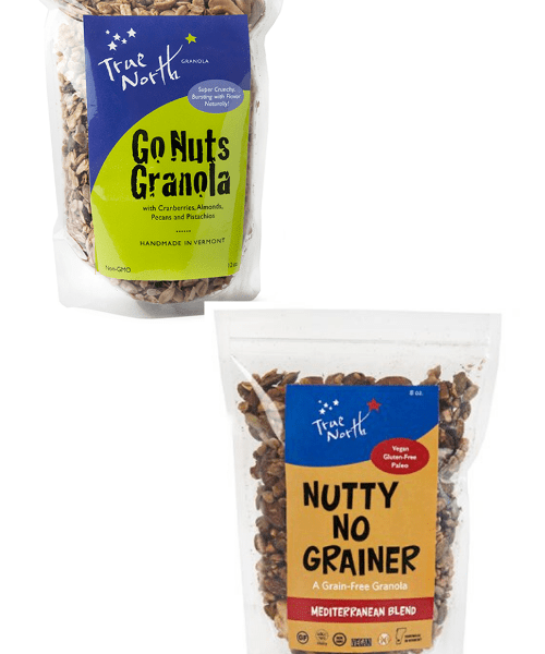Bags of Go Nuts Granola and Nutty No Grainer Mediterranean