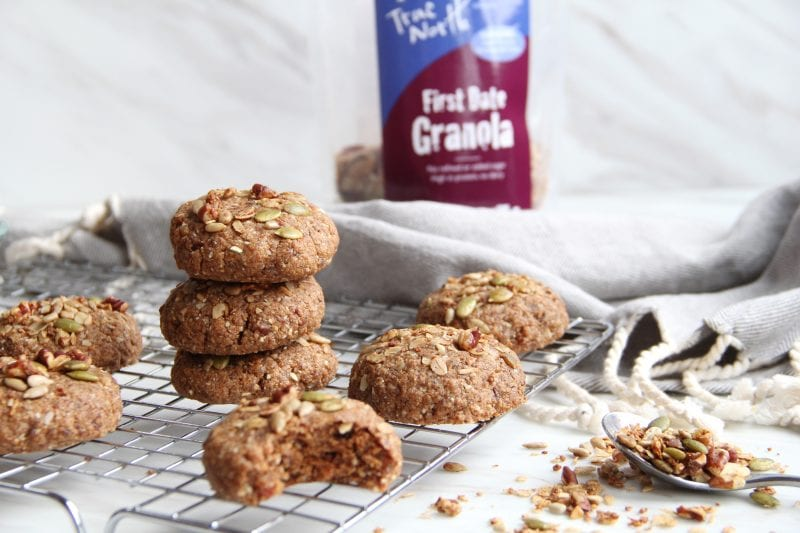 Granola Adventure Cookies, featuring First Date Granola, cool on a rack. a bag of First Fate is in the background.