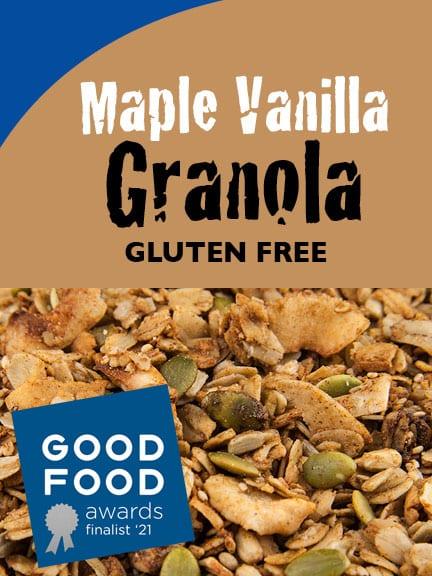 Organic Maple Vanilla Gluten-Free Granola with Good Food Awards Finalist logo