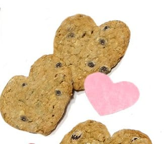 Granola Chocolate Chip Cookies and a pink paper heart