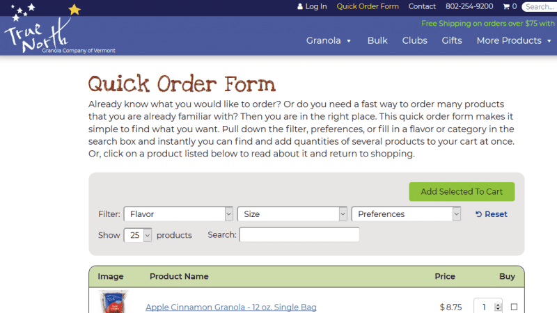Quick Order Form