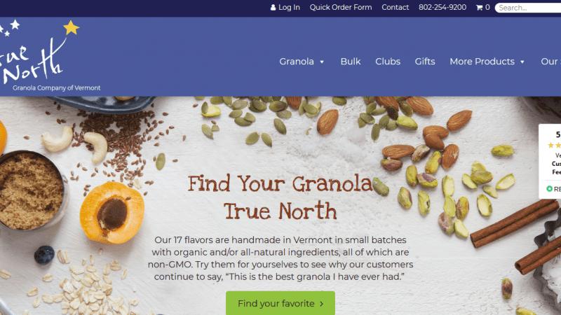 The new truenorthgranola.com homepage