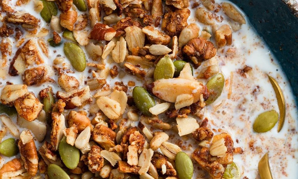 First Date Granola in a bowl of yogurt