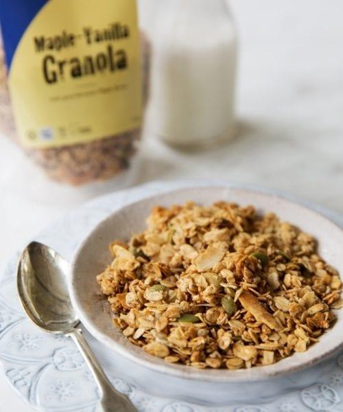 A bowl of Maple Vanilla Granola: a classic flavor combination for sure!