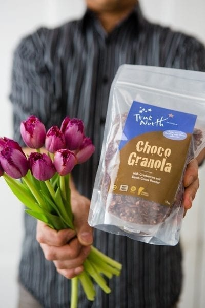 Valentine's Day picture of Choco Granola and a flower bouquet